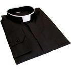 Camisa negra con cuello romano