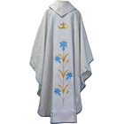 Casulla mariana con estolón central bordado blanco