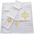Conjunto de altar con JHS bordado con hilo dorado