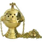 Incensario pequeño de metal dorado