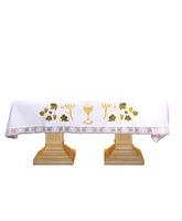 Mantel de altar con cáliz, Hostia, trigo y uvas bordadas