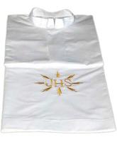 Alba blanca de poliéster y algodón con JHS bordado