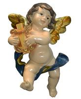 Ángel con arpa fabricado en marmolina