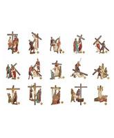 Vía Crucis de poliéster policromado