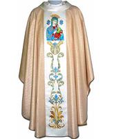 Casulla mariana estolón central bordado Virgen Perpetuo Socorro