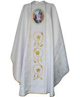 Casulla damasco con Sagrada Familia estampada