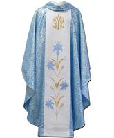 Casulla mariana con estolón central bordado