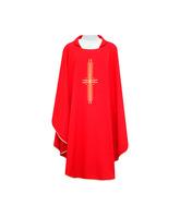 Casulla con Cruz bordada en los cuatro colores litúrgicos