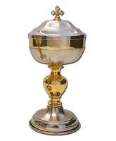 Copón plateado y dorado con base circular