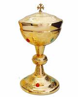 Copón con baño de oro y piedras incrustadas
