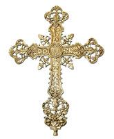 Cruz en bronce con INRI y elementos litúrgicos