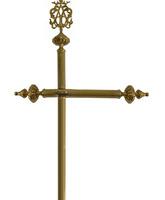 Guión porta estandartes decorado con insignia mariana