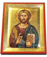 Icono bizantino Cristo Pantocrátor - 13 x 10,5 cm.