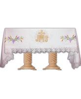 Mantel de altar bordado con JHS, espigas y uvas