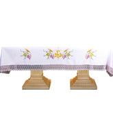 Mantel de altar con Cruz, JHS, espigas y uvas bordadas