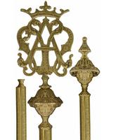 Porta estandartes mariano de bronce - Vara repujada
