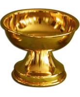 Patena lisa en metal con baño dorado