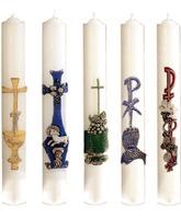 Velas de Sacramentos con decoración en relieve
