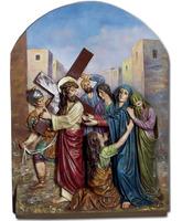 Vía Crucis policromado o imitación madera