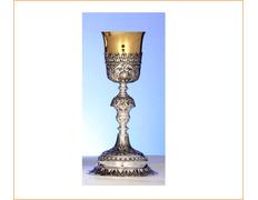 Cáliz de plata barroco con copa dorada