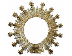 Aureola con baño de oro y piedras semipreciosas