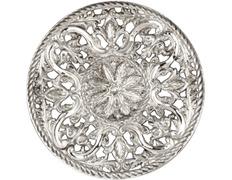 Aureola de plata con elementos litúrgicos