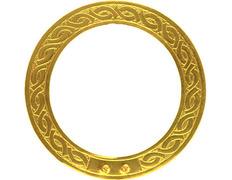 Aureola dorada con decoración cincelada