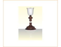 Cáliz de plata con nudo y base de madera