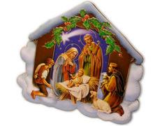 Belén con la Sagrada Familia y pastores adorando