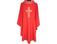 Casulla cuatro colores | Bordado Cruz latina rojo