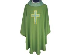 Casulla cuatro colores | Bordado Cruz latina verde