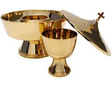 Copón dos especies de metal con baño de oro baño dorado