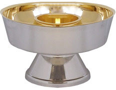 Copón dos especies de metal con baño de oro baño plateado