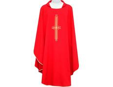 Casulla con Cruz bordada | Cuatro colores litúrgicos rojo