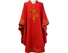 Casulla de algodón y poliéster con la Cruces bordadas rojo