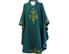 Casulla de algodón y poliéster con la Cruces bordadas verde