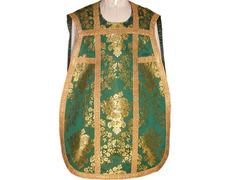 Casulla de guitarra brocada en los cuatro colores litúrgicos verde