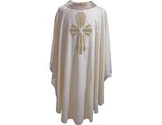 Casulla de lana con Cruz de seda beige