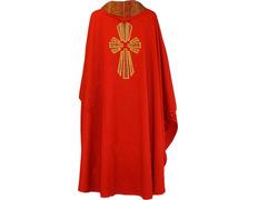 Casulla de lana con Cruz de seda rojo