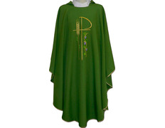 Casulla de poliéster disponible en cuatro colores verde