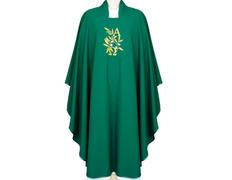 Casulla de poliéster con Alfa y Omega bordado verde
