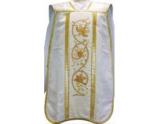 Casulla romana de tela damasco crema