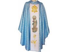 Casulla mariana bordada y estampada