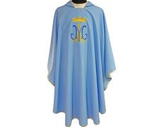 Casulla mariana bordada y estampada azul celeste