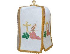 Cubre copón bordado con elementos litúrgicos