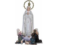 Virgen de Fátima con los tres pastores