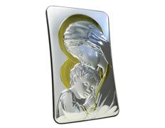 Icono de plata 13 cm. - Virgen María con Niño