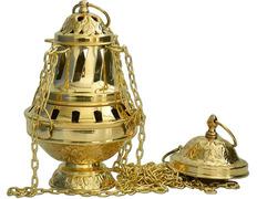 Incensario de metal dorado con cuatro cadenas