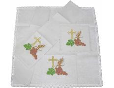 Conjunto de altar con Cruz, espigas y uvas bordadas