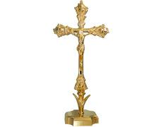 Crucifijo dorado para mesa con base